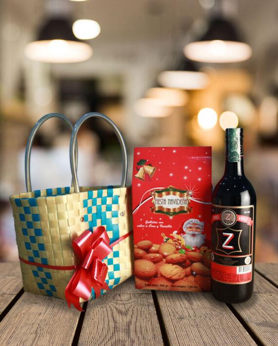 ancheta navideña con vino y galletas fiesta