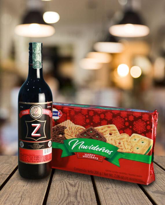 Vino z y galletas de navidad