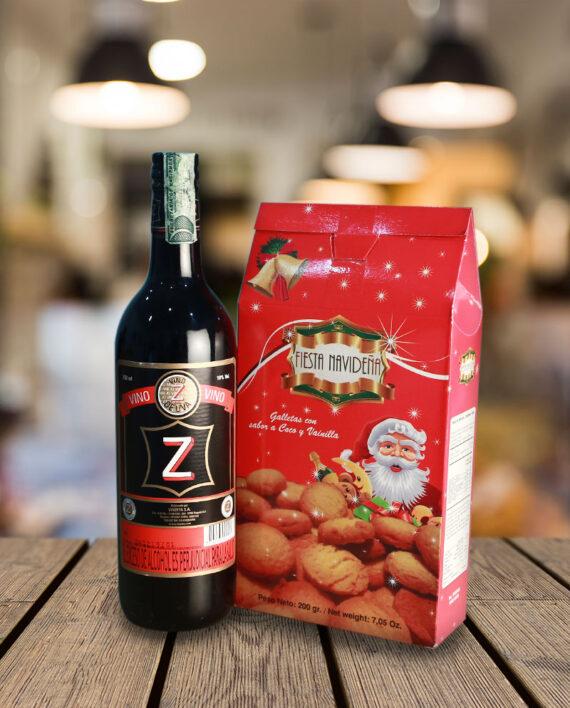 vino z con galletas de navidad